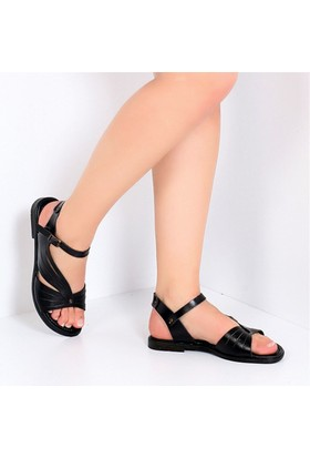 Pembe Potin Fethiye Siyah Kadın Sandalet