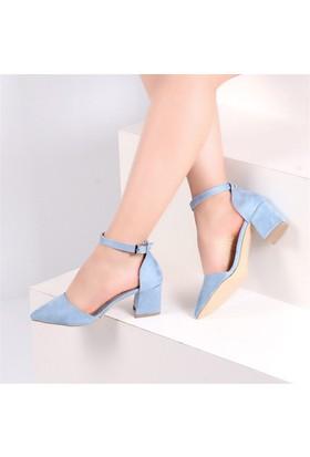 Pembe Potin Coralie Mavi Nubuk Kadın Ayakkabı