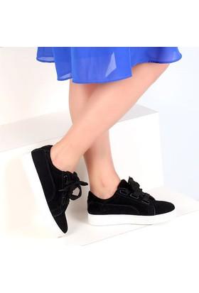 Pembe Potin Elita Siyah Nubuk Kadın Ayakkabı