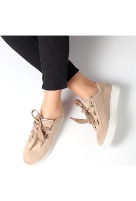 Pembe Potin Elita Bej Nubuk Kadın Ayakkabı