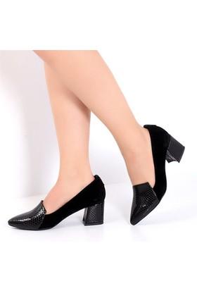 Pembe Potin Jessica Siyah Nubuk Kadın Ayakkabı