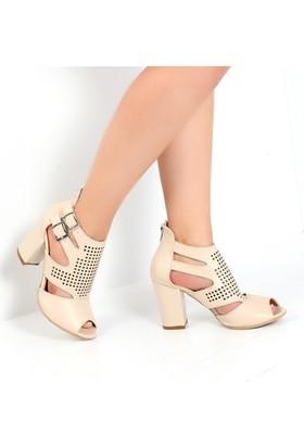 Pembe Potin Fleur Bej Kadın Ayakkabı