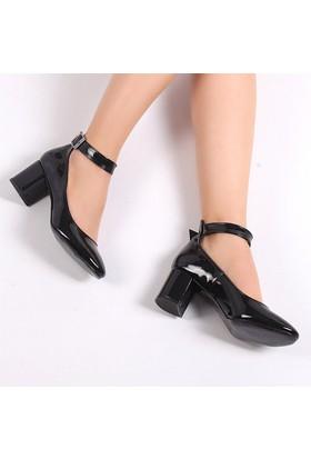Pembe Potin Candy Siyah Rugan Kadın Ayakkabı