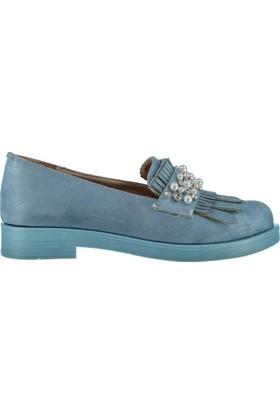 Pembe Potin Ella Mavi Nubuk Kadın Ayakkabı