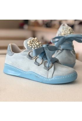Pembe Potin Marcelina Mavi Nubuk Kadın Ayakkabı