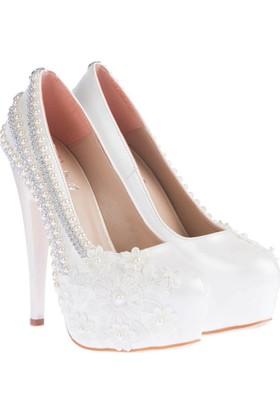 Pembe Potin Jenna Beyaz Kadın Ayakkabı