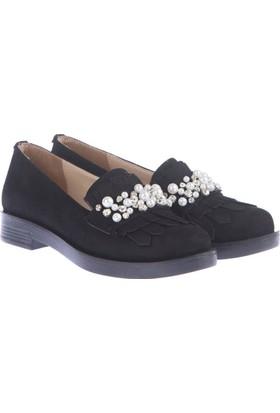 Pembe Potin Ella Siyah Nubuk Kadın Ayakkabı