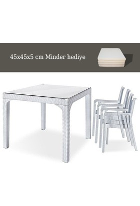 Holiday Plastik Beyaz Markiz Koltuk(4) - Comfort(90*90) Camlı Masa(1) Set