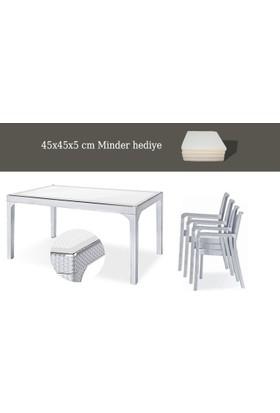 Holiday Plastik Beyaz Markiz Koltuk(4) - Olympia(90*150) Camlı Masa(1) Set