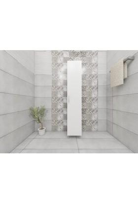 Eda 5 Raflı Kapaklı Banyo Boy Dolabı-Beyaz