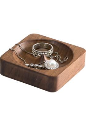 Zuula Küpe Kutusu Mücevher Takı Kutusu Ceviz