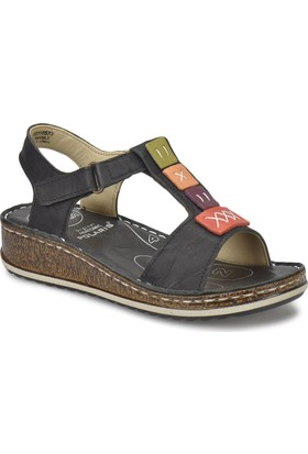 Polaris 5 Nokta 81.109699.Z Siyah Kadın Deri Sandalet