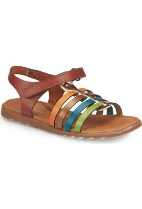 Polaris 81.510032.F Kahverengi Kız Çocuk Deri Basic Sandalet