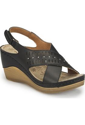 Polaris 81.158601.Z Siyah Kadın Basic Comfort Dolgu Topuk Sandalet