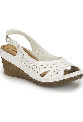 Polaris 81.158594.Z Beyaz Kadın Basic Comfort Sandalet