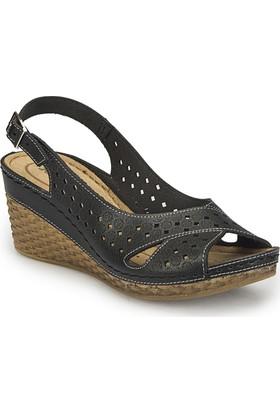 Polaris 81.158594.Z Siyah Kadın Basic Comfort Sandalet