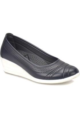 Polaris 81.157552.Z Lacivert Kadın Dolgu Topuk Ayakkabı