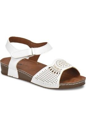 Polaris 81.157373.Z Beyaz Kadın Basic Comfort Sandalet