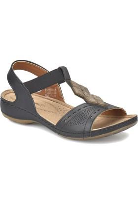 Polaris 81.157364.Z Siyah Kadın Basic Comfort Sandalet