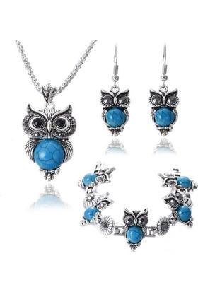 Angemiel Mavi Kristal Taşlı Bohem Baykuş Kolye Küpe Bileklik Takı Seti