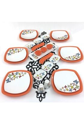 Keramika 26 Parça 6 Kişilik Turuncu Kelebek Kahvaltı Takımı