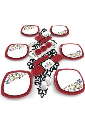Keramika 26 Parça 6 Kişilik Kırmızı Kelebek Kahvaltı Takımı
