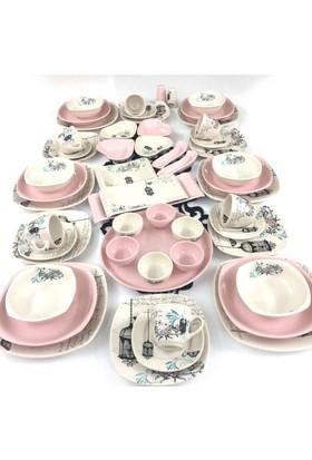 Keramika Retro Pembe 54 Parça 6 Kişilik Yemek Takımı Çeyiz Seti