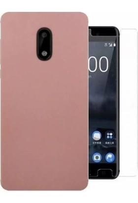 Teleplus Nokia 8 Lüks Silikon Kılıf Rose Gold + Cam Ekran Koruyucu