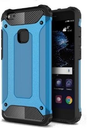 Teleplus Huawei P10 Lite Çift Katmanlı Tank Kapak Kılıf Mavi
