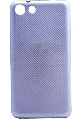 Teleplus Vestel Venüs V4 Karbon Silikon Kılıf Gümüş
