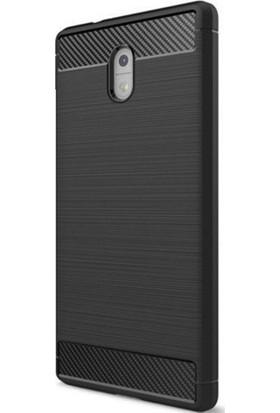 Teleplus Nokia 3 Özel Karbon Ve Silikonlu Kılıf Siyah