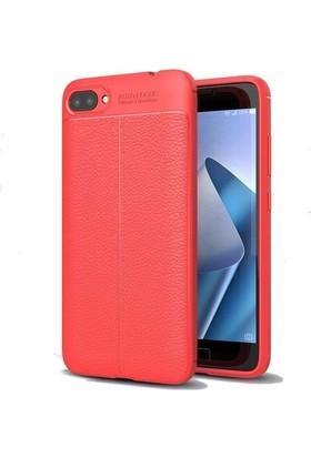 Teleplus Asus Zenfone 4 Max ZC554KL Deri Dokulu Silikon Kılıf Kırmızı