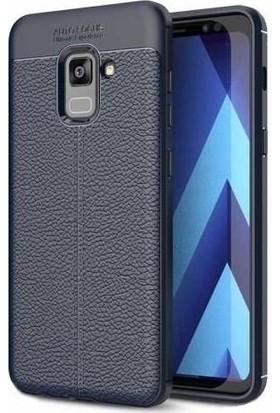 Teleplus Samsung Galaxy A8 2018 Deri Dokulu Silikonlu Kılıf Lacivert