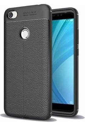 Teleplus Xiaomi Redmi Note 5A Prime Deri Dokulu Silikon Kılıf Siyah