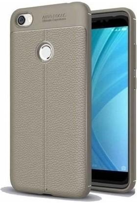 Teleplus Xiaomi Redmi Note 5A Prime Deri Dokulu Silikon Kılıf Gri