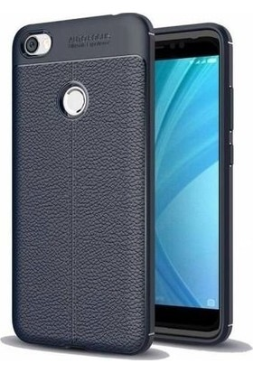 Teleplus Xiaomi Redmi Note 5A Prime Deri Dokulu Silikon Kılıf Lacivert
