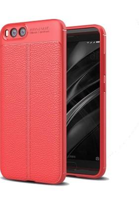 Teleplus Xiaomi Mi Note 3 Deri Dokulu Silikon Kılıf Kırmızı