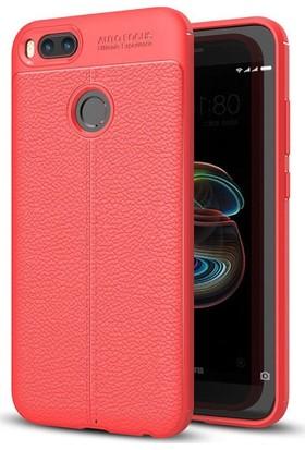 Teleplus Xiaomi Mi A1 Deri Dokulu Silikon Kılıf Kırmızı