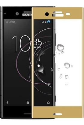 Teleplus Sony Xperia XZ1 Tam Kapatan Cam Ekran Koruyucu Gold
