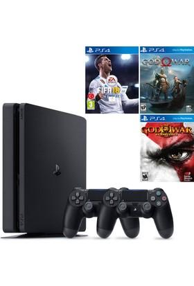 Sony Ps4 Slim 500Gb Konsol + 2. Kol + Fifa 18 + God Of War 4 + God Of War 3