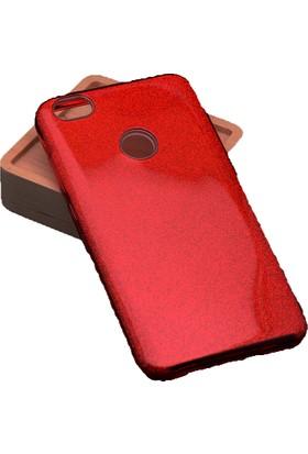 Case 4U Xiaomi 5X / A1 Kılıf Shining Simli Silikon Arka Kapak - Kırmızı