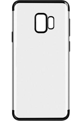 Case 4U Samsung Galaxy S9 Lazer Kaplamalı Şeffaf Silikon Kılıf - Siyah
