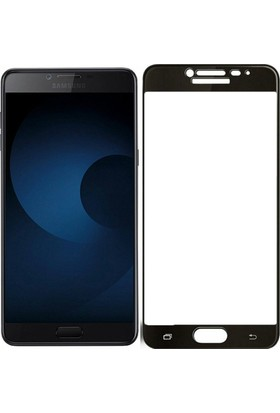 Case 4U Samsung Galaxy C7 Pro Tam Kaplayan Ekran Koruyucu - Nano Fiber - Siyah