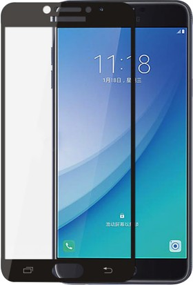 Case 4U Samsung Galaxy C5 Pro Tam Kaplayan Ekran Koruyucu - Nano Fiber - Siyah