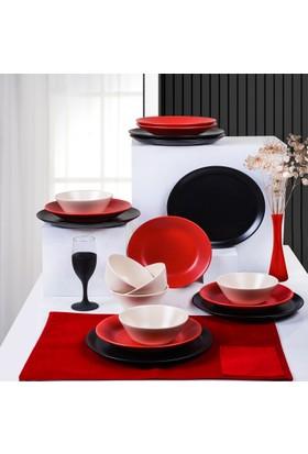 Keramika 18 Parça Hitit Yemek Takımı Mat Siyah-Kırmızı