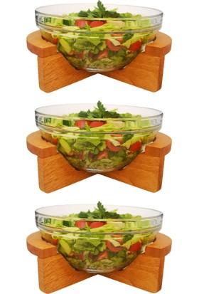 Joy Glass Gardenıa 3'Lü Küçük Salata Kasesi - Ahşap Standlı P52543 &