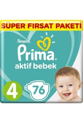 Prima Bebek Bezi Aktif Bebek 4 Beden Maxi Süper Fırsat Paketi 76 Adet
