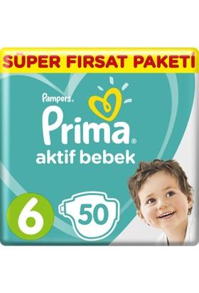 Prima Bebek Bezi Aktif Bebek 6 Beden Ekstra Large Süper Fırsat Paketi 50 Adet