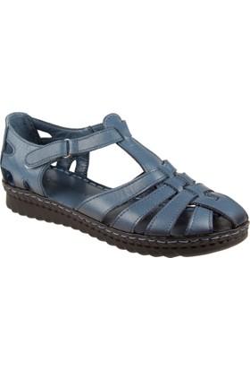 Hammerjack Hakiki Deri Kadın Sandalet Hmr 4022 Mavi