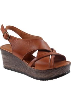 İloz Hakiki Deri Kadın Sandalet Snj 440322 Kahverengi